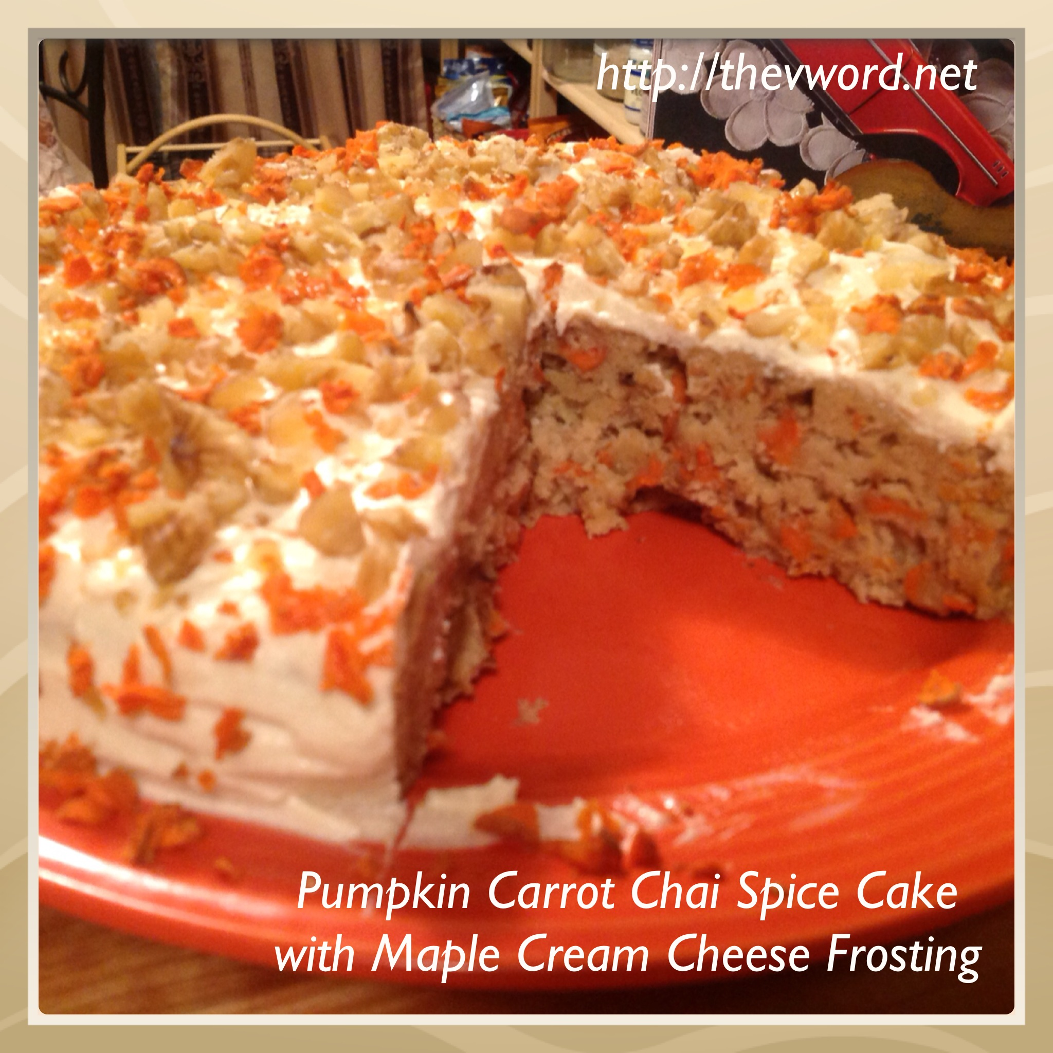 Pumpkin Carrot Chai Spice Cake with Maple Cream Cheese Vanilla ...