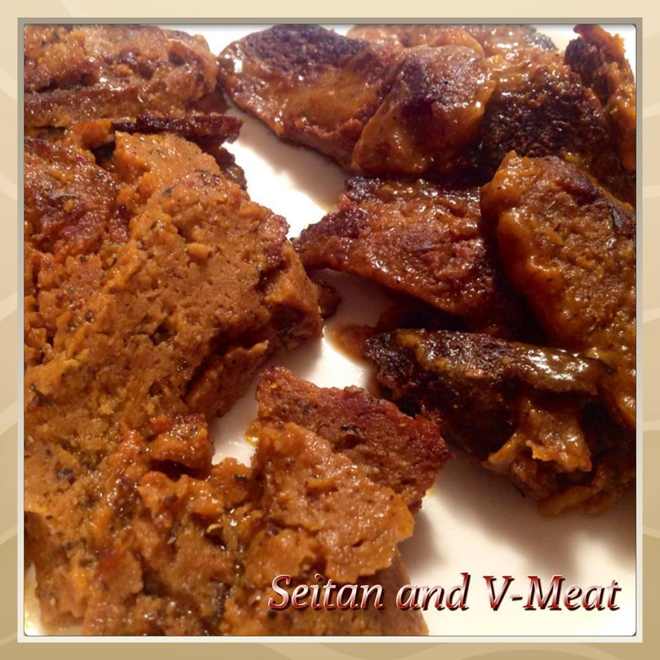 Seitan and V-Meat. Which is which? Can you tell?