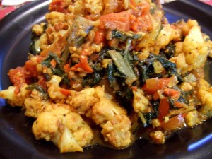 stewed cauliflower and chard