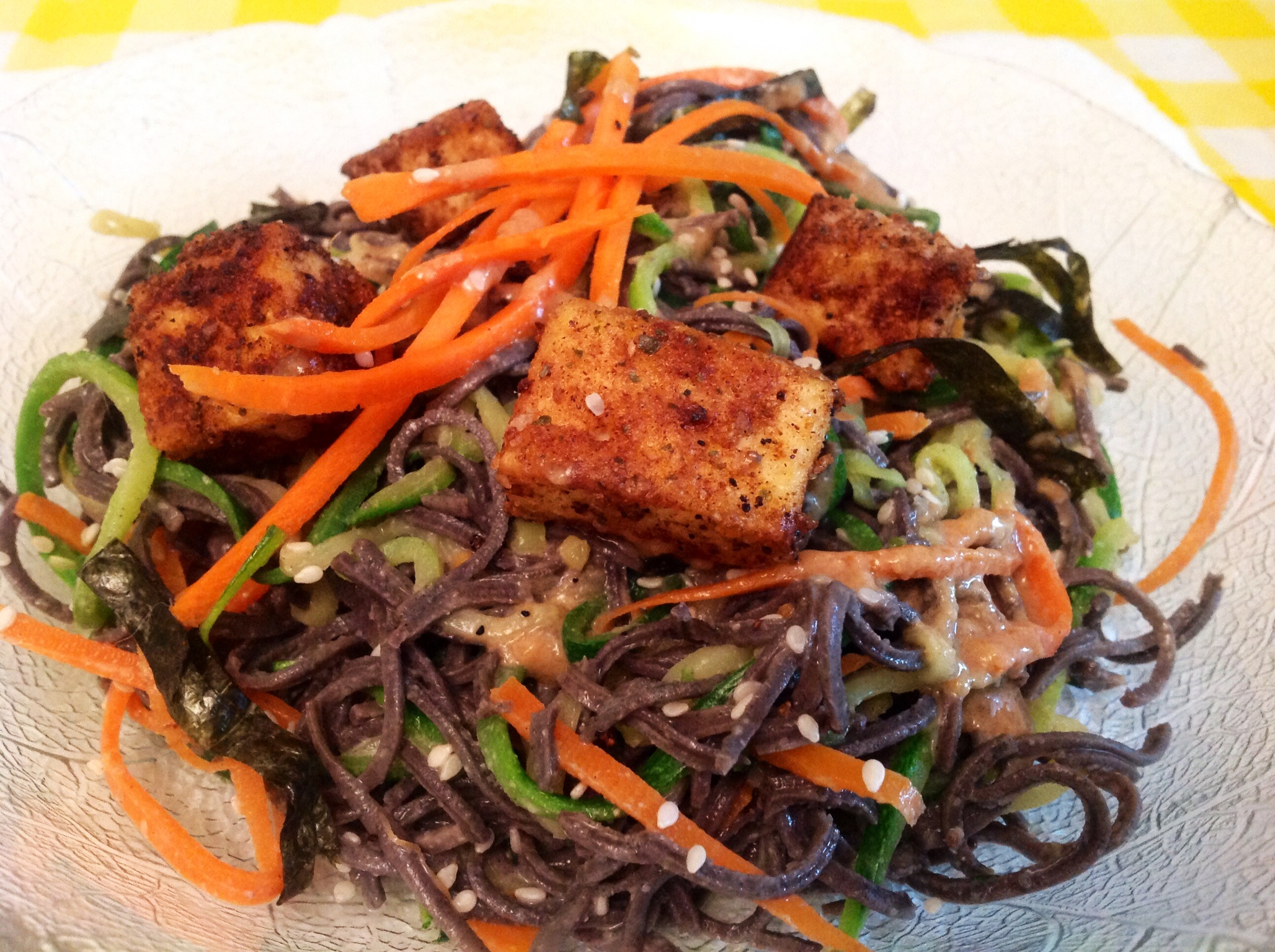 Pan-Fried Tofu with Zucchini, Carrot and Black Bean Sesame Noodles ...