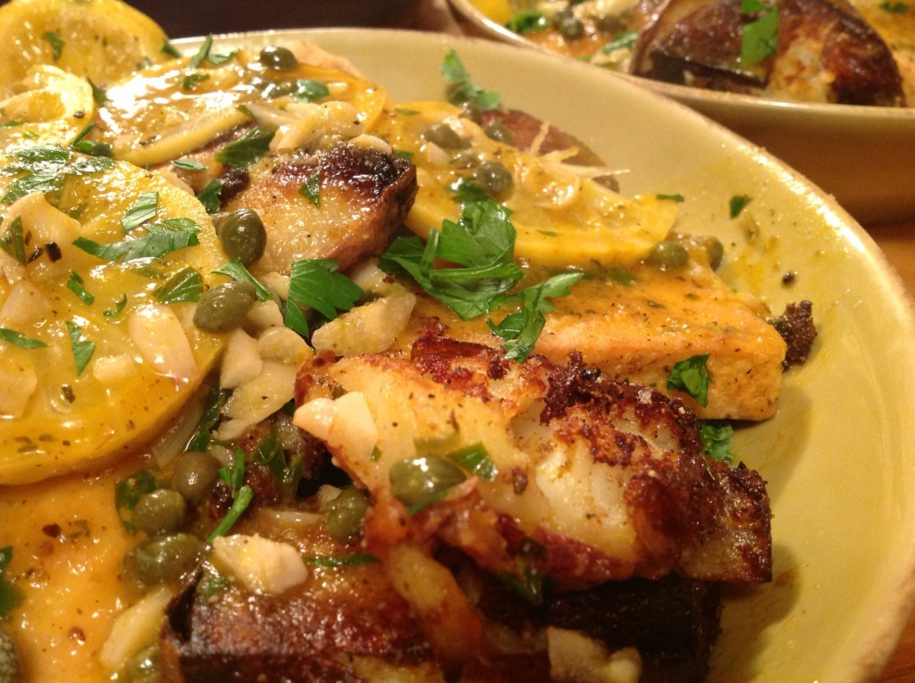 tofu piccata bowl with smashed taters (4)