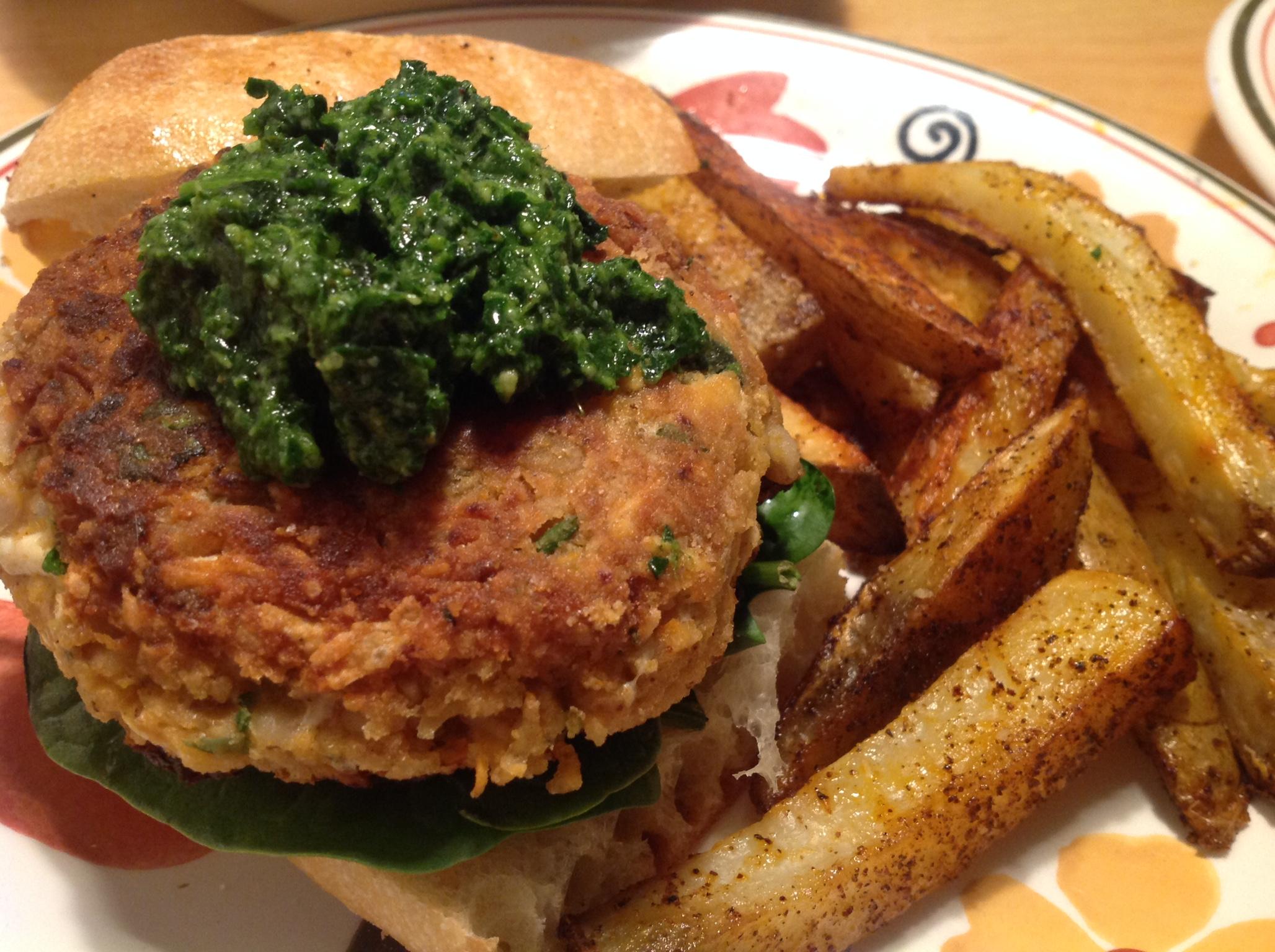 Vegan Mozzarella-Stuffed Cannellini Burgers with Spinach Pesto | The ...