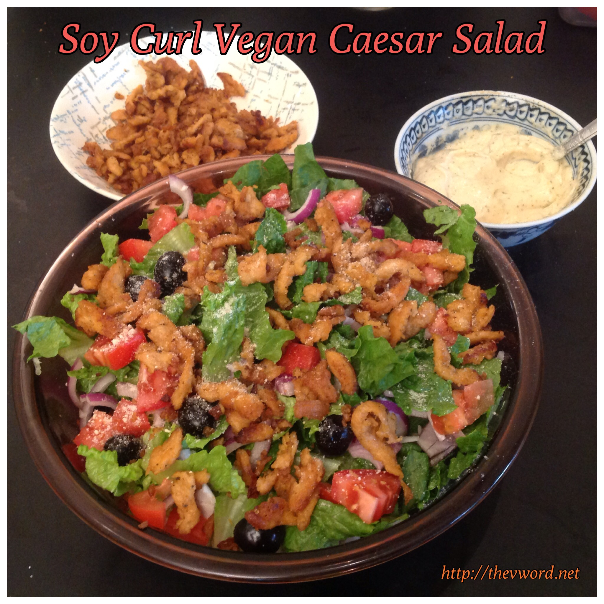 Vegan Soy Curl Caesar Salad and Cheesy Breadsticks   The \