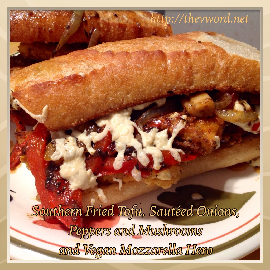 Southern Frid Tofu Sauteed Onions Peppers Mozzarella Hero (1)